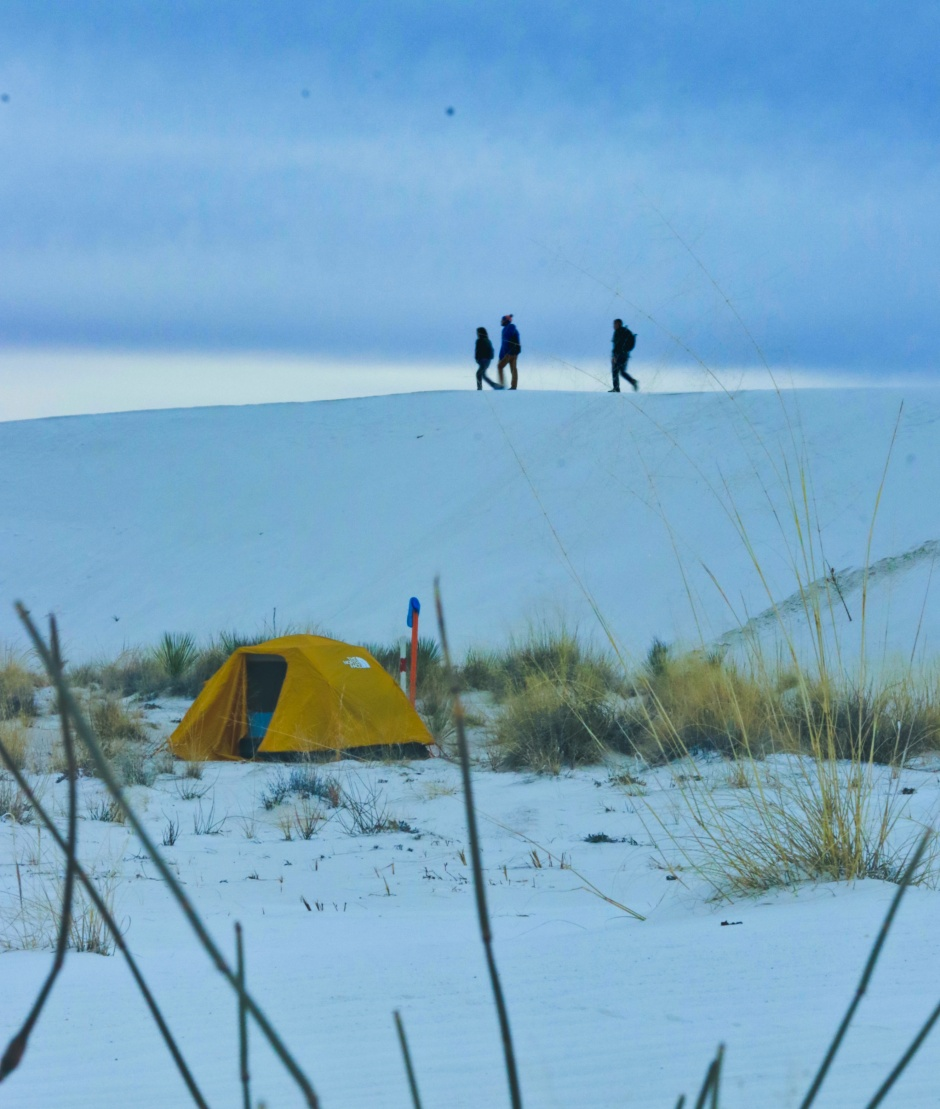 Hikers over camp